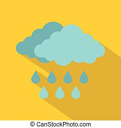 Cloud with rain icon, flat style - Cloud with rain icon....