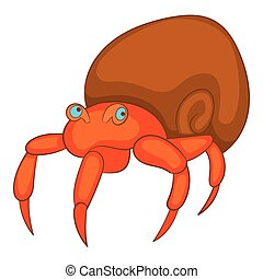 Hermit crab icon, cartoon style - Hermit crab icon. Cartoon...