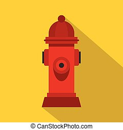Red fire hydrant icon, flat style - Red fire hydrant icon....