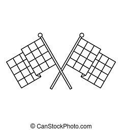 Chequered flags icon, outline style - Chequered flags icon....