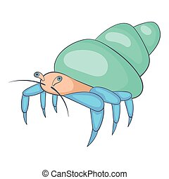Blue hermit crab icon, cartoon style - Blue hermit crab...