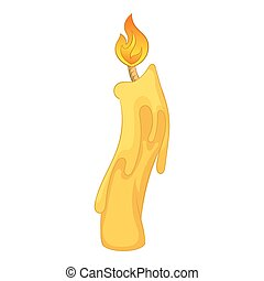 Candle with dripping wax icon, cartoon style