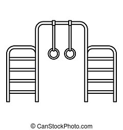 Gymnastics rings and ladder icon, outline style - Gymnastics...