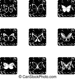 Butterfly icons set, grunge style