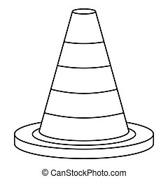 Traffic safety cone icon, outline style - Traffic safety...