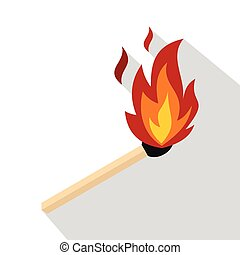 Match with fire icon, flat style