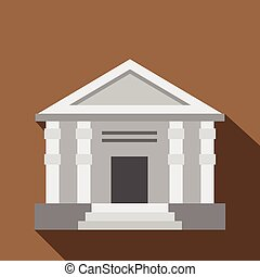 Colonnade icon, flat style - Colonnade icon. Flat...