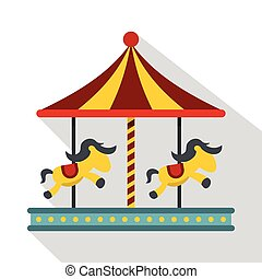 Children carousel with colorful horses icon
