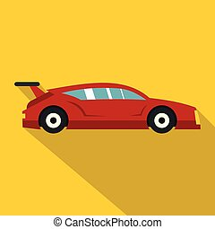 Red car icon, flat style - Red car icon. Flat illustration...