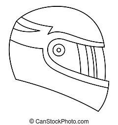 Motorcycle helmet icon, outline style - Motorcycle helmet...
