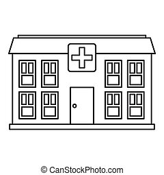 Hospital icon, outline style - Hospital icon. Outline...