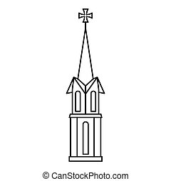 Church icon, outline style - Church icon. Outline...