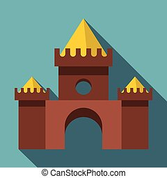 Brown castle icon, flat style
