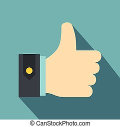 Thumbs up icon, flat style - Thumbs up icon. Flat...