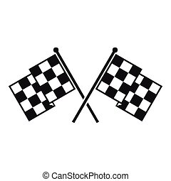 Checkered racing flags icon, simple style - Checkered racing...