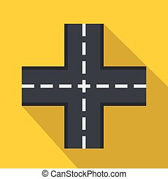 Crossing road icon, flat style