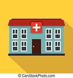 Hospital icon, flat style - Hospital icon. Flat illustration...