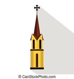 Church icon, flat style - Church icon. Flat illustration of...