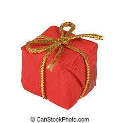 christmas present - small red linen package with Golden...