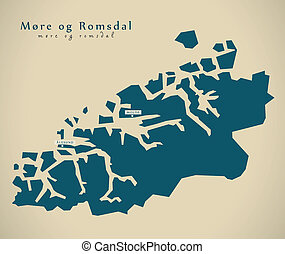 Modern Map - More og Romsdal Norway NO illustration
