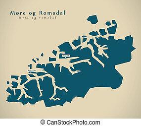 Modern Map - More og Romsdal Norway NO illustration
