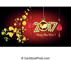 Happy New Year 2017. year of the rooster with blooming...