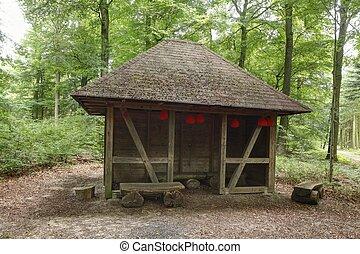 Schutzhütte, Laubwald, Bäume, Syke, Niedersachsen,...