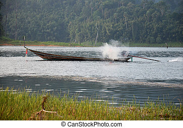 Thai people sail long tail boat serviced for send and...