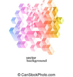 Colorful Cubes Background - Abstract vector background with...