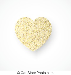 Vector background with gold glitter heart.