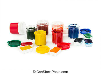 Watercolor paints and gouache isolated on white background.
