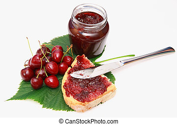 cherry jam - sweet cherry jam on toast close up