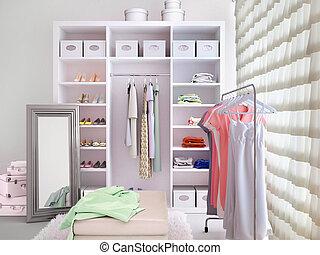 Light dressing room. 3d illustration