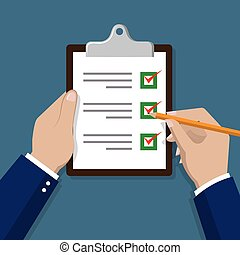 Checklist with hand. Check items on paper vector...