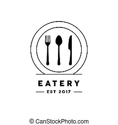 Eatery restaurant logo with knife, fork, spoon and plate icon.