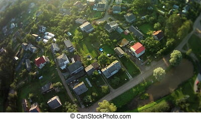 fly over village on balloon
