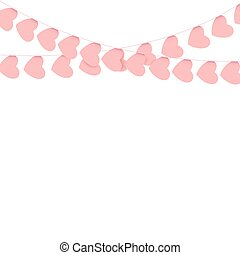 Pink hearts garlands on white background.