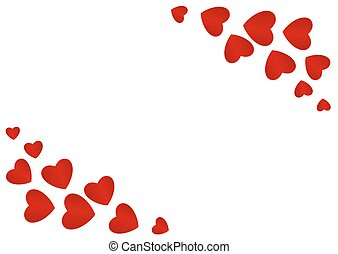 Postcard by Valentines Day with red hearts