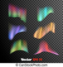 Vector realistic 3d northern, polar light on dark transparent background