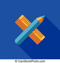 Vector icon or illustration with crossed pencil and ruler...