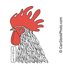 Rooster in graphical style. freehand drawn cartoon cock....