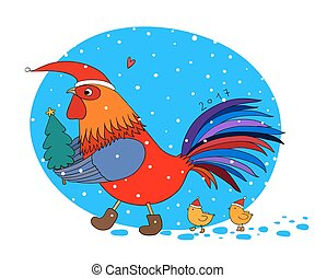 Cartoon rooster cute, little chickens and Christmas tree.