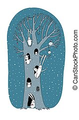 Magic Tree, rabbits, owl, dog and mouse. Winter landscape....