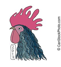 Rooster in graphical style. cartoon cock. isolated objects...