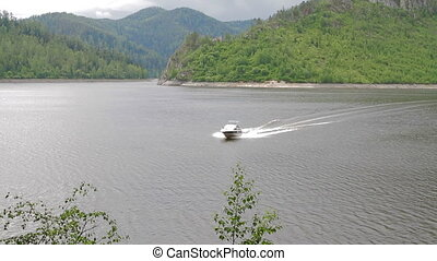 River speed boat mountain landscape - River summer mountain...
