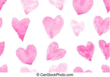 seamless pattern with watercolor hearts - Seamless pattern...