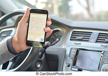 Helpful navigation map app on smartphone while driving