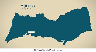 Modern Map - Algarve Portugal PT illustration