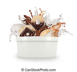 a splash of milk and chocolate on a white background