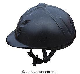 Black riding helmet. Isolated jockey protection on white...